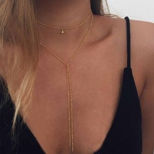 4/$25 Layered Microbeads & Bell Lariat Necklace